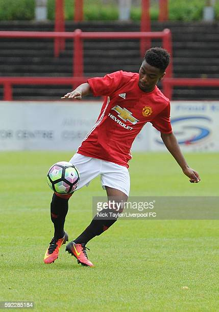 Angel Gomes of Manchester United in action during the Manchester United v Liverpool U18 game on August 20 2016 in Altrincham England