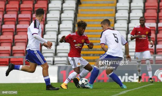 Angel Gomes of Manchester United U19s in action during the UEFA Youth League match between Manchester United U19s and FC Basel U19s at Leigh Sports...