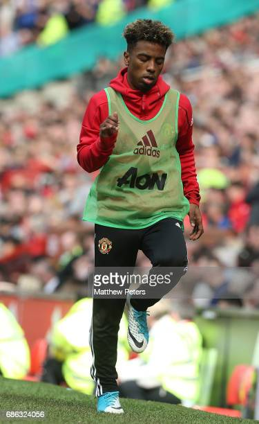 Angel Gomes of Manchester United warms up during the Premier League match between Manchester United and Crystal Palace at Old Trafford on May 21 2017...