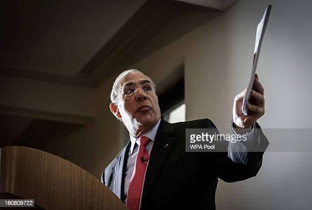 Angel Gurria Secretary General of the Organisation for Economic Cooperation and Development attends a press conference at The Treasury in Whitehall...