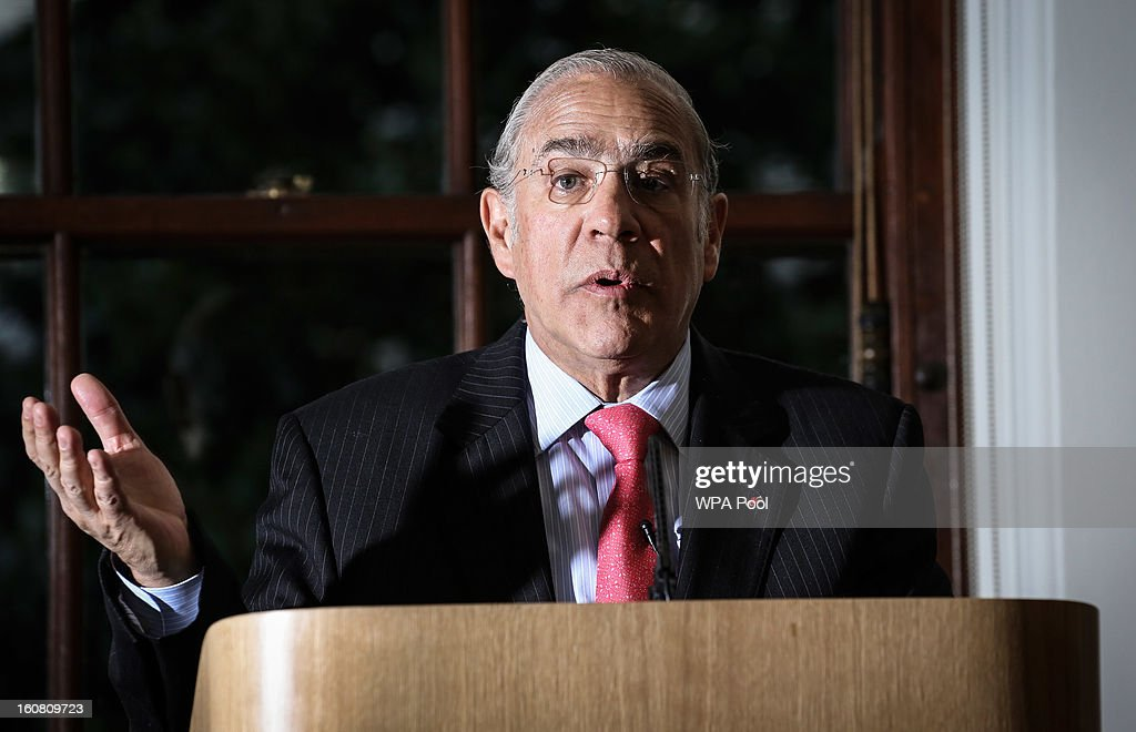 Angel Gurria, Secretary General of the Organisation for Economic Cooperation and Development (OECD), attends a press conference at The Treasury in Whitehall on February 6, 2013 in London, England. The Secretary-General of the economic think tank attended the press conference to present the OECD's latest Economic Survey of the United Kingdom.