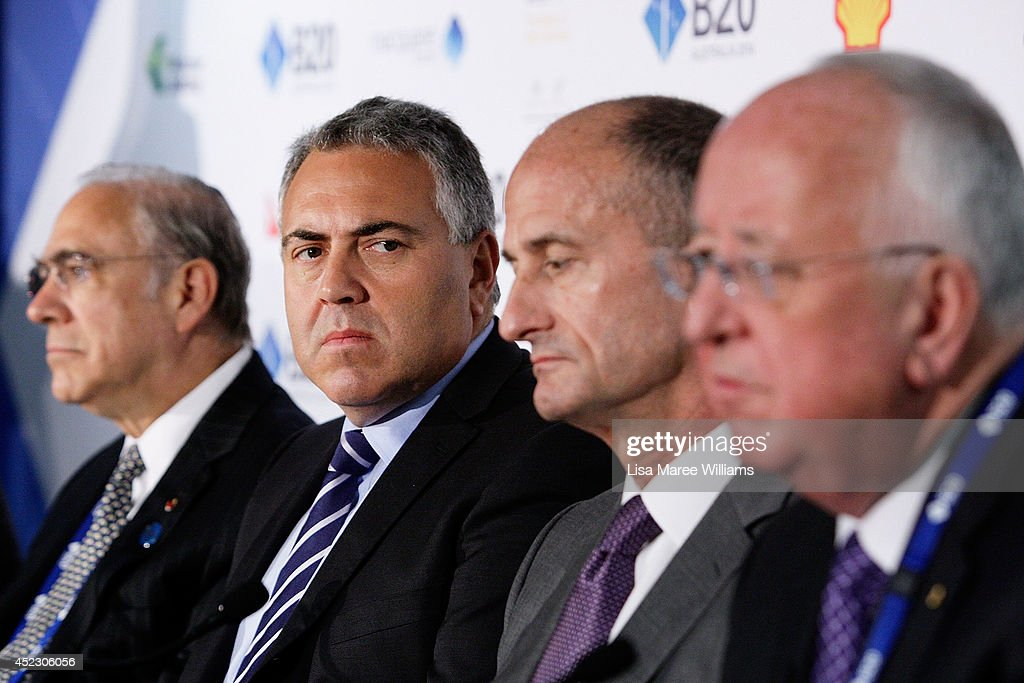 Angel Gurria, Secretary-General OECD, <a gi-track='captionPersonalityLinkClicked' href=/galleries/search?phrase=Joe+Hockey&family=editorial&specificpeople=2961513 ng-click='$event.stopPropagation()'>Joe Hockey</a>, Australian Treasurer, <a gi-track='captionPersonalityLinkClicked' href=/galleries/search?phrase=John+Rice&family=editorial&specificpeople=91246 ng-click='$event.stopPropagation()'>John Rice</a>, CEO GE Global Growth and Operations and Sam Walsh, CEO Rio Tinto attend a press conference during the B20 Summit at on July 18, 2014 in Sydney, Australia. Over 350 business leaders have gathered in Sydney for the 2014 B20 Summit to discuss and determine policy recommendations ahead of the G20 Leaders Meeting in Brisbane later this year.