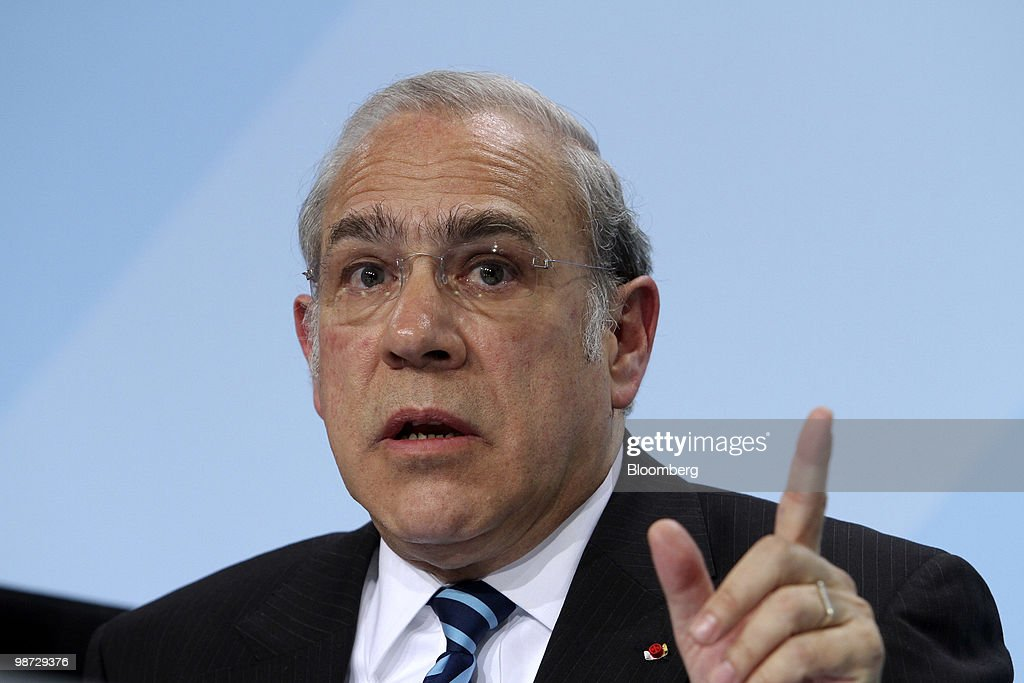 Angel Gurria, secretary-general of the Organization for Economic Cooperation and Development (OECD), speaks at a news conference at the German federal chancellory in Berlin, Germany, on Wednesday, April 28, 2010. German Chancellor Angela Merkel and the IMF pledged to step up efforts to overcome the Greek fiscal crisis as Standard & Poor's downgraded Spain and investors sold bonds in Europe's most indebted nations. Photographer: Michele Tantussi/Bloomberg via Getty Images