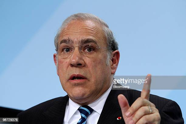 Angel Gurria secretarygeneral of the Organization for Economic Cooperation and Development speaks at a news conference at the German federal...