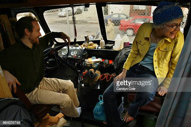 NEW YORK – Angel Hess a photographer and his girlfriend Theresa Magario have a few places to sit inside their breadtruck They use the dashboard for...