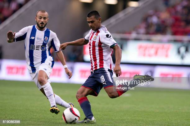 Angel Lopez of Chivas kicks the ball during the friendly match between Chivas and Porto at Chivas Stadium on July 19 2017 in Zapopan Mexico