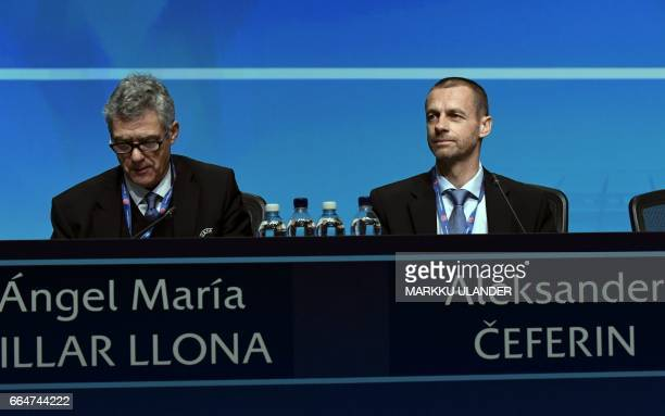 Angel Maria Villar Llona and UEFA President Aleksander Ceferin are pictured during the 41st Ordinary UEFA Congress on April 5 2017 at the Fair Centre...