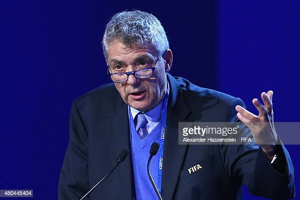 Angel Maria Villar Llona member of the FIFA Executive Committee and Chairman of the Legal Committee speaks during the 64th FIFA Congress at TEC on...