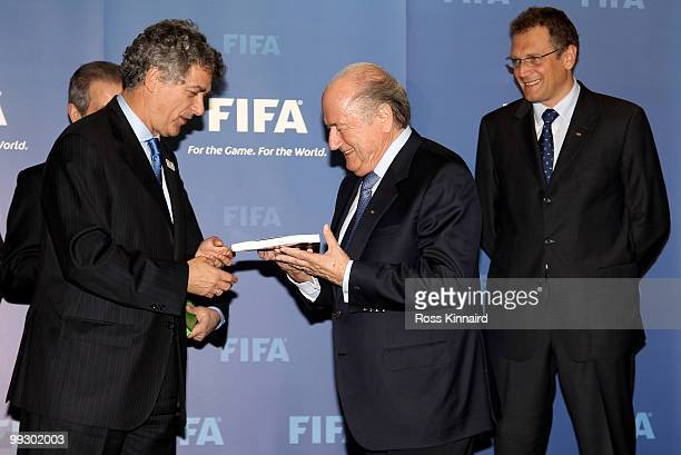 Angel Maria Villar Llona President of RFRF and President of Spanish/Portuguese Bid Committee presents their Bid Book to Sepp Blatter FIFA President...