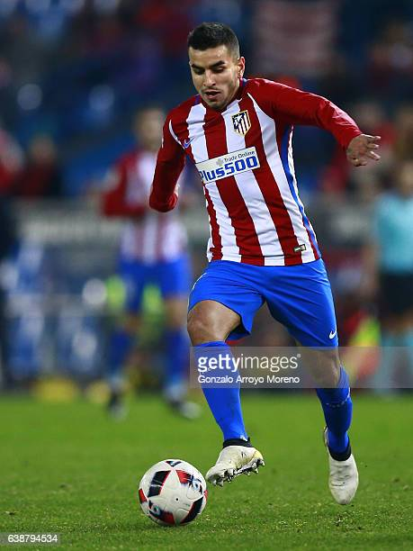 Angel Martin Correa of Atletico de Madrid controls the ball during the Copa del Rey Round of 16 second leg match at Estadio Vicente Calderon on...