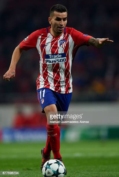 Angel Martin Correa of Atletico de Madrid runs with the ball during the UEFA Champions League group C match between Atletico Madrid and AS Roma at...