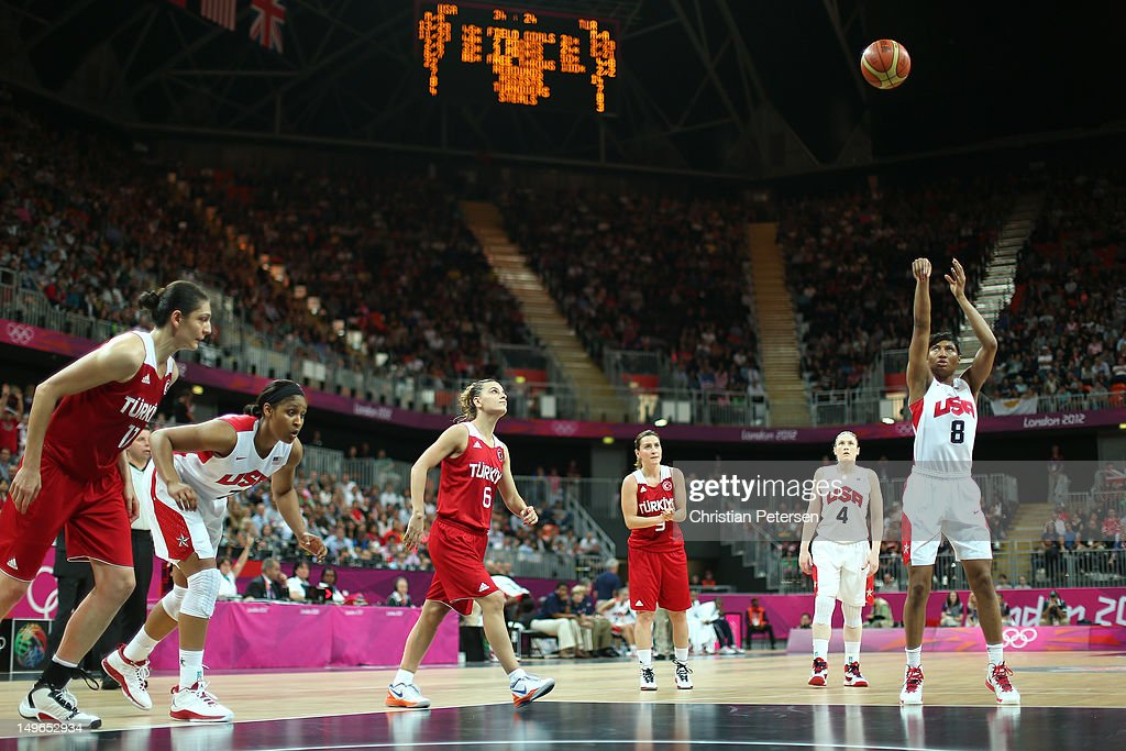 Angel McCaughtry #8 of United States shoots a free throw in the Women's Basketball Preliminary Round match between the United States and Turkey on Day 5 of the London 2012 Olympic Games at Basketball Arena on August 1, 2012 in London, England.