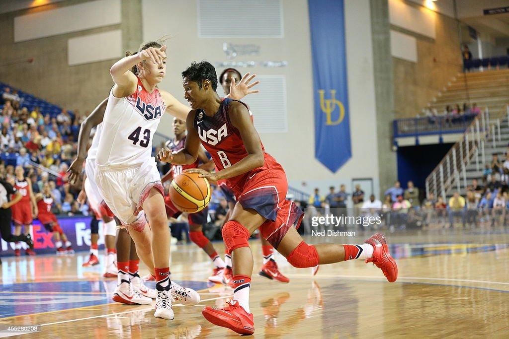 Angel McCoughtry drives to the basket against Breanna Stewart during the Women's Senior US National Team Red vs White game on September 11 2014 in...