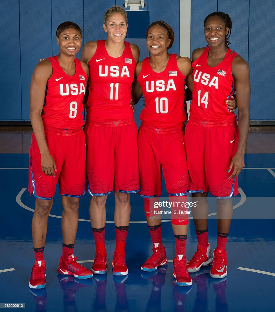 Angel McCoughtry, Elena Delle Donne, Tamika Catchings and Tina Charles of the USA Basketball Women's National Team pose for a photo on July 30, 2016 at the Madison Square Garden Training Center in Tarrytown, New York.