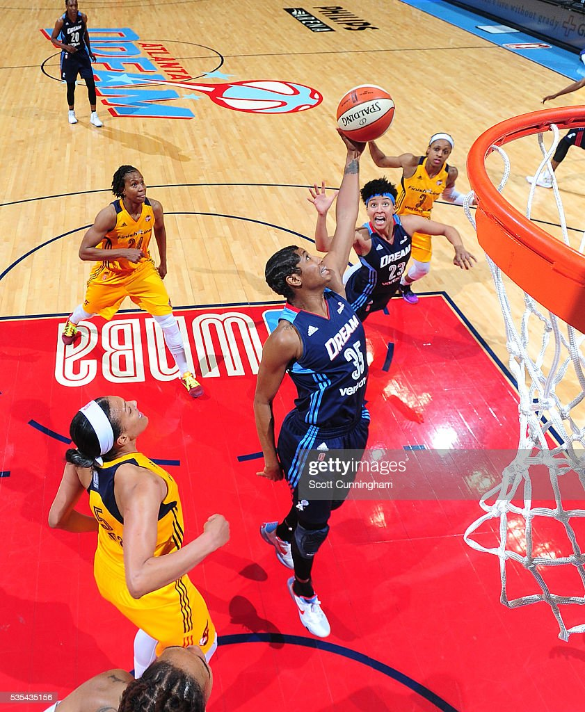 <a gi-track='captionPersonalityLinkClicked' href=/galleries/search?phrase=Angel+McCoughtry&family=editorial&specificpeople=4423621 ng-click='$event.stopPropagation()'>Angel McCoughtry</a> #35 of the Atlanta Dream grabs the rebound against the Indiana Fever on May 29, 2016 at Philips Arena in Atlanta, Georgia.