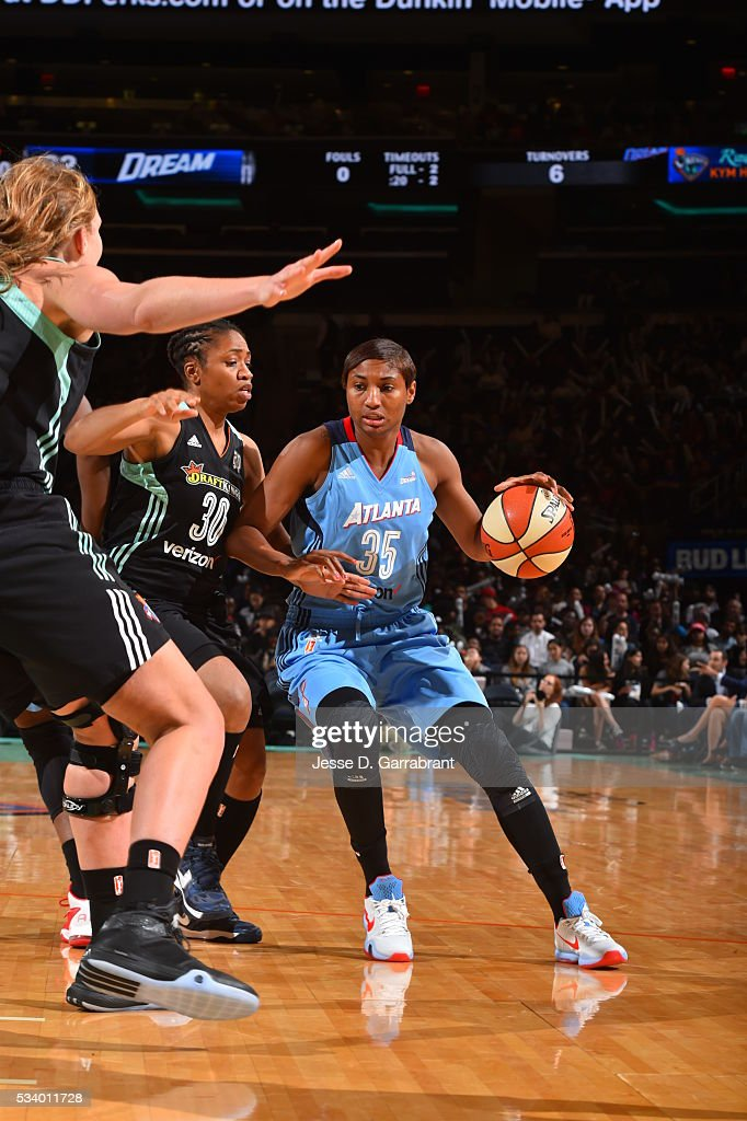 <a gi-track='captionPersonalityLinkClicked' href=/galleries/search?phrase=Angel+McCoughtry&family=editorial&specificpeople=4423621 ng-click='$event.stopPropagation()'>Angel McCoughtry</a> #35 of the Atlanta Dream handles the ball against the New York Liberty on May 24, 2016 at Madison Square Garden in New York City, New York.