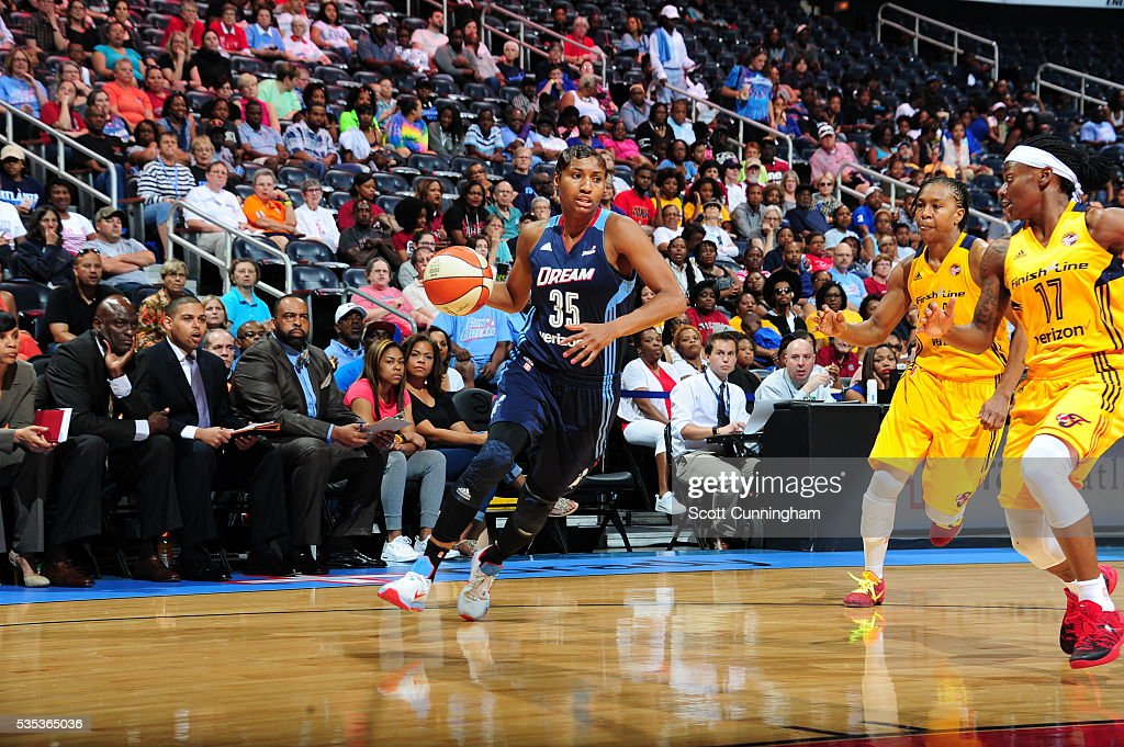 <a gi-track='captionPersonalityLinkClicked' href=/galleries/search?phrase=Angel+McCoughtry&family=editorial&specificpeople=4423621 ng-click='$event.stopPropagation()'>Angel McCoughtry</a> #35 of the Atlanta Dream handles the ball against the Indiana Fever on May 29, 2016 at Philips Arena in Atlanta, Georgia.