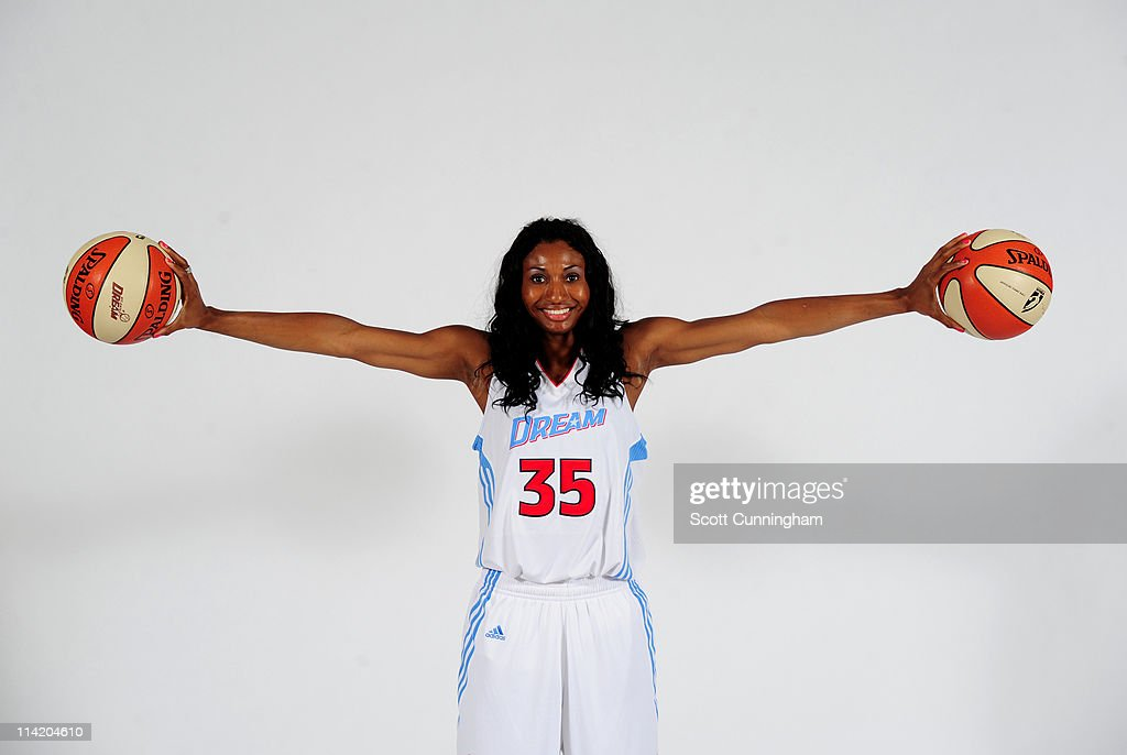 Angel McCoughtry #35 of the Atlanta Dream poses during Dream Media Day at 200 Peachtree Special Events & Conference Centre on May 15, 2011 in Atlanta, Georgia.
