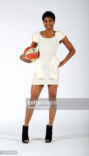 Angel McCoughtry of the Atlanta Dream poses during WNBA Media Day at Philips Arena on May 9 2012 in Atlanta Georgia NOTE TO USER User expressly...