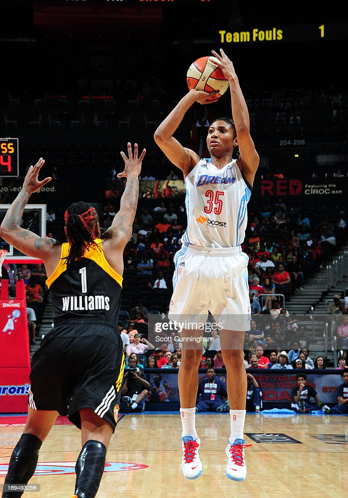 Angel McCoughtry #35 of the Atlanta Dream puts up a shot against the Tulsa Shock at Philips Arena on May 25, 2013 in Atlanta, Georgia.