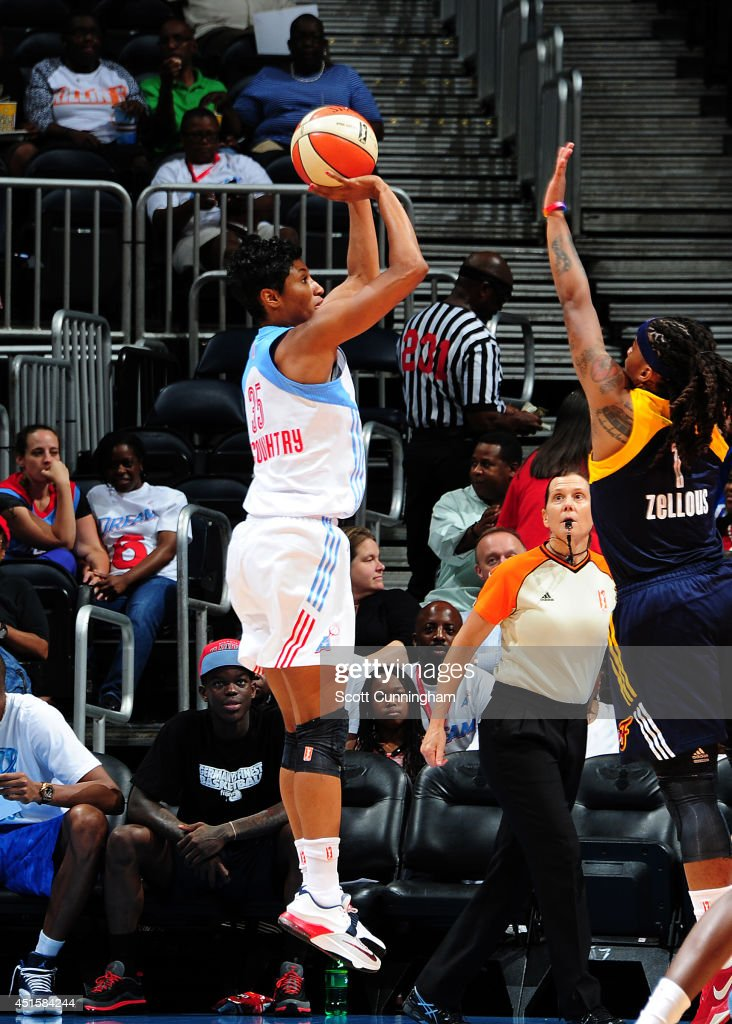 Angel McCoughtry #35 of the Atlanta Dream puts up a shot against the Indiana Fever on July 1, 2014 at Philips Arena in Atlanta, Georgia.