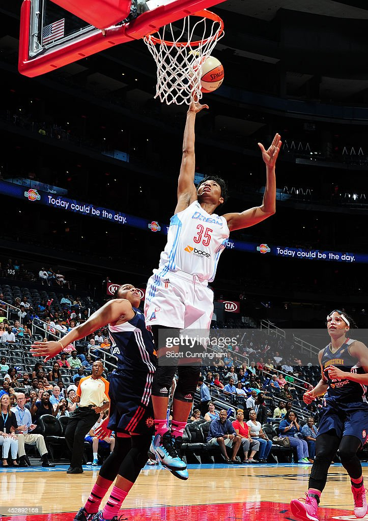 Angel McCoughtry #35 of the Atlanta Dream puts up a shot against the Connecticut Sun on July 29, 2014 at Philips Arena in Atlanta, Georgia.