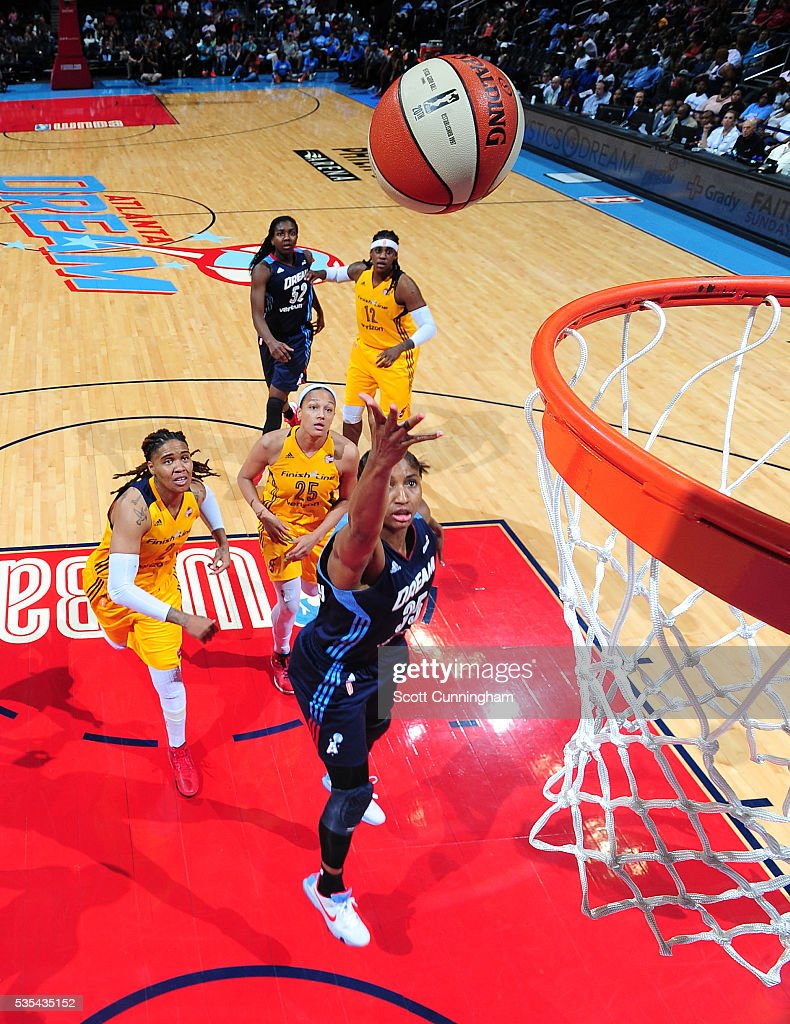 <a gi-track='captionPersonalityLinkClicked' href=/galleries/search?phrase=Angel+McCoughtry&family=editorial&specificpeople=4423621 ng-click='$event.stopPropagation()'>Angel McCoughtry</a> #35 of the Atlanta Dream shoots the ball against the Indiana Fever on May 29, 2016 at Philips Arena in Atlanta, Georgia.