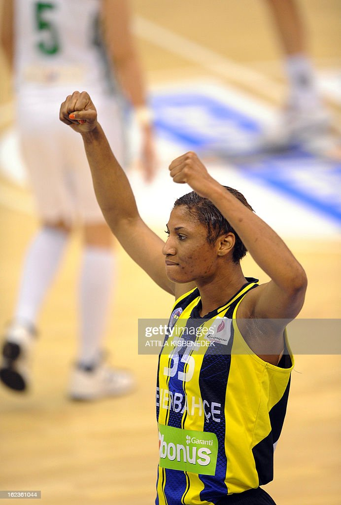 US Angel McCoughtry of the Turkish Fenerbahce Istanbul celebrates their victory over Hungarian Hat-Agro UNI Gyor in Gyor on February 22, 2013 during their Euro League match. Turkish team won 77-68. PHOTO / ATTILA