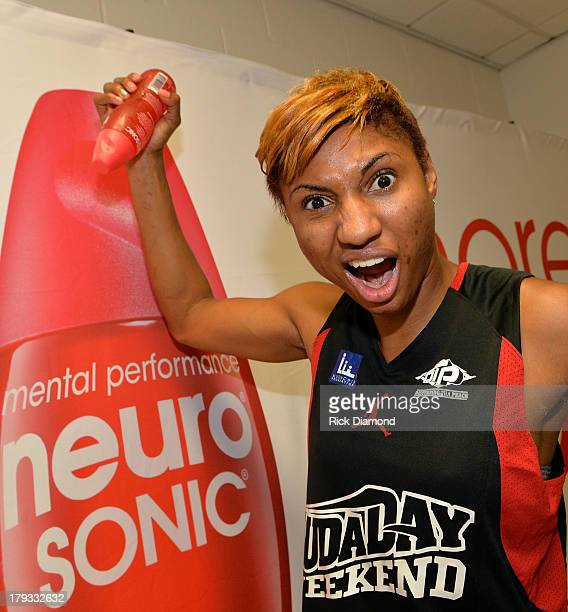 Angel McCoughtry of the WNBA Atlanta Dream during Neuro Drinks At LudaDay Weekend Celebrity Basketball Game at GSU Sports Arena on September 1 2013...