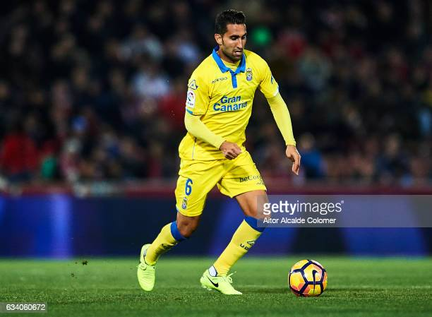 Angel Montoro of Union Deportiva Las Palmas in action during the La Liga match between Granada CF vs UD Las Palmas at Estadio Nuevo Los Carmenes on...