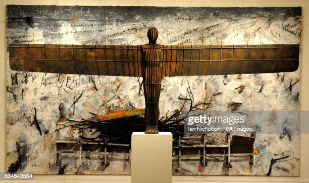 Angel of the North a 1/20 scale maquette by Antony Gormley overlooks Das einzige Licht by Anselm Kiiefer at Sotheby's London auction rooms