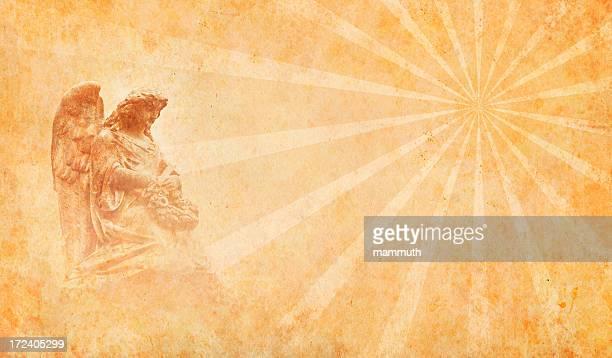 angel auf alten Papier mit Sonnenstrahlen