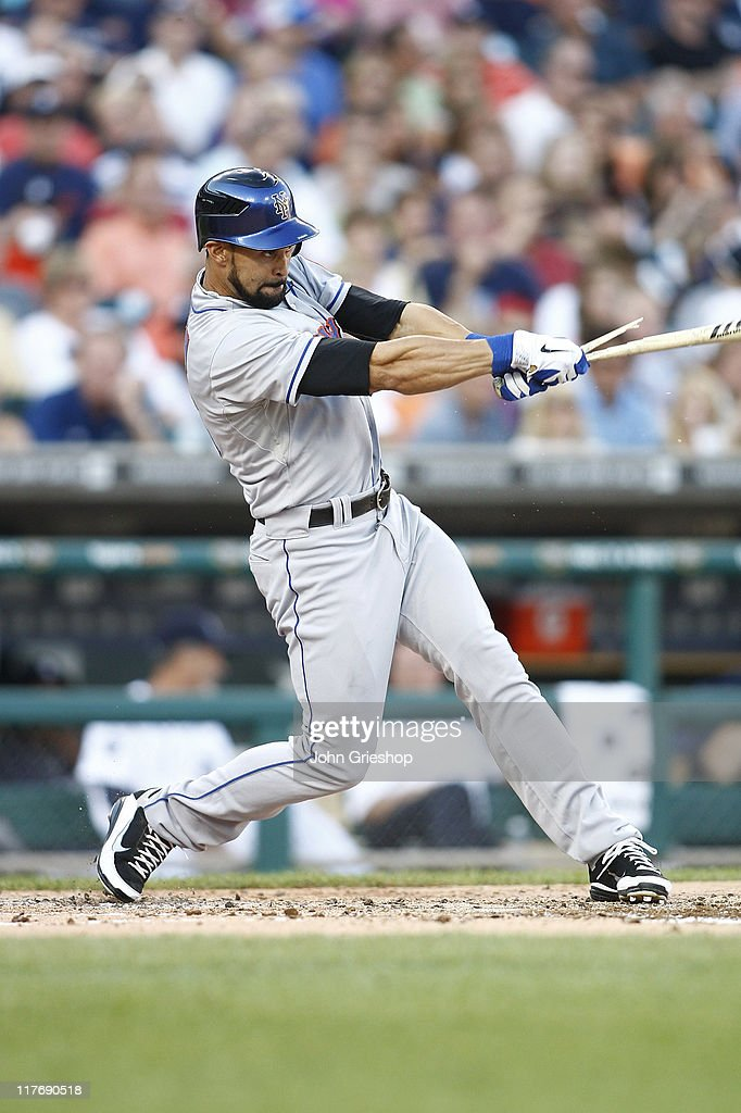 <a gi-track='captionPersonalityLinkClicked' href=/galleries/search?phrase=Angel+Pagan&family=editorial&specificpeople=666596 ng-click='$event.stopPropagation()'>Angel Pagan</a> #16 of the New York Mets connects with a pitch during the game against the Detroit Tigers on June 29, 2011 at Comerica Park in Detroit, Michigan. The Mets defeated the Tigers 16-9.