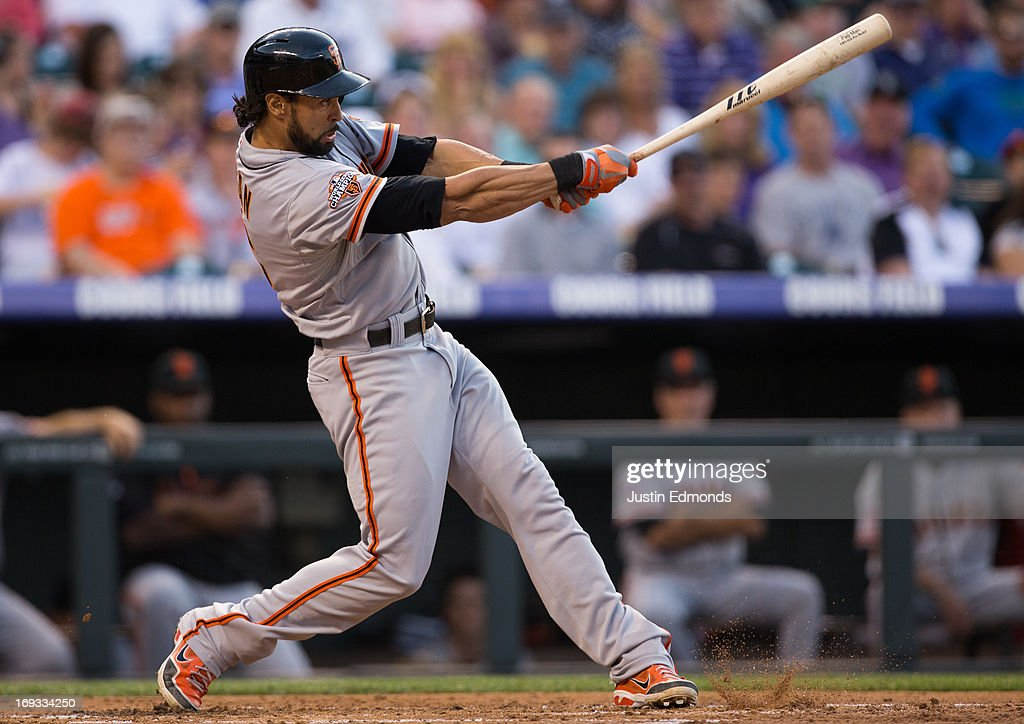 <a gi-track='captionPersonalityLinkClicked' href=/galleries/search?phrase=Angel+Pagan&family=editorial&specificpeople=666596 ng-click='$event.stopPropagation()'>Angel Pagan</a> #16 of the San Francisco Giants bats against the Colorado Rockies at Coors Field on May 17, 2013 in Denver, Colorado.
