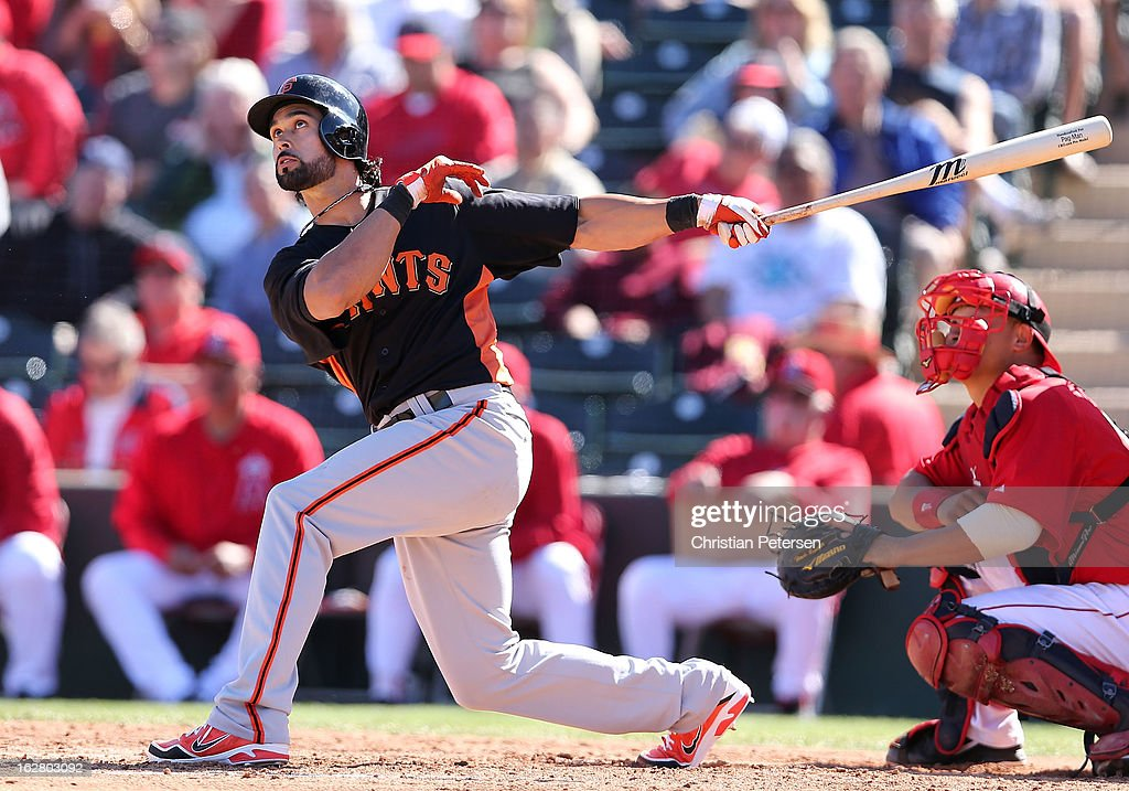<a gi-track='captionPersonalityLinkClicked' href=/galleries/search?phrase=Angel+Pagan&family=editorial&specificpeople=666596 ng-click='$event.stopPropagation()'>Angel Pagan</a> #16 of the San Francisco Giants bats against the Los Angeles Angels during the spring training game at Tempe Diablo Stadium on February 27, 2013 in Tempe, Arizona.