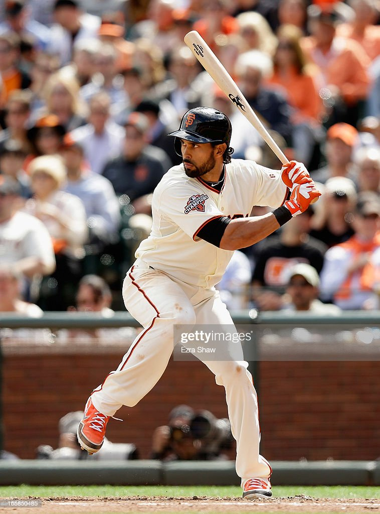 <a gi-track='captionPersonalityLinkClicked' href=/galleries/search?phrase=Angel+Pagan&family=editorial&specificpeople=666596 ng-click='$event.stopPropagation()'>Angel Pagan</a> #16 of the San Francisco Giants bats against the St. Louis Cardinals at AT&T Park on April 5, 2013 in San Francisco, California.
