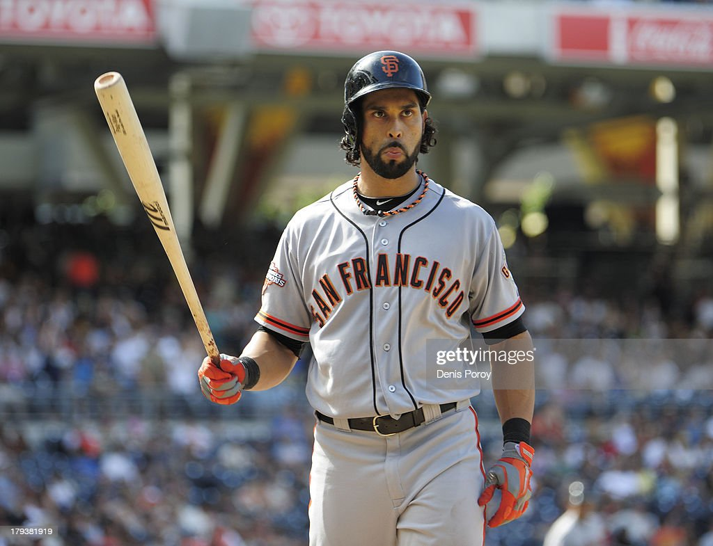 <a gi-track='captionPersonalityLinkClicked' href=/galleries/search?phrase=Angel+Pagan&family=editorial&specificpeople=666596 ng-click='$event.stopPropagation()'>Angel Pagan</a> #16 of the San Francisco Giants bats in the ninth inning of a baseball game against the San Diego Padres at Petco Park on September 2, 2013 in San Diego, California. The Padres won 4-1.