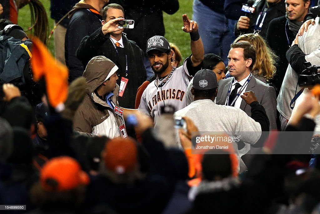 <a gi-track='captionPersonalityLinkClicked' href=/galleries/search?phrase=Angel+Pagan&family=editorial&specificpeople=666596 ng-click='$event.stopPropagation()'>Angel Pagan</a> #16 of the San Francisco Giants celebrates after defeating the Detroit Tigers to win Game Four of the Major League Baseball World Series at Comerica Park on October 28, 2012 in Detroit, Michigan. The San Francisco Giants defeated the Detroit Tigers 4-3 in the tenth inning to win the World Series in 4 straight games.