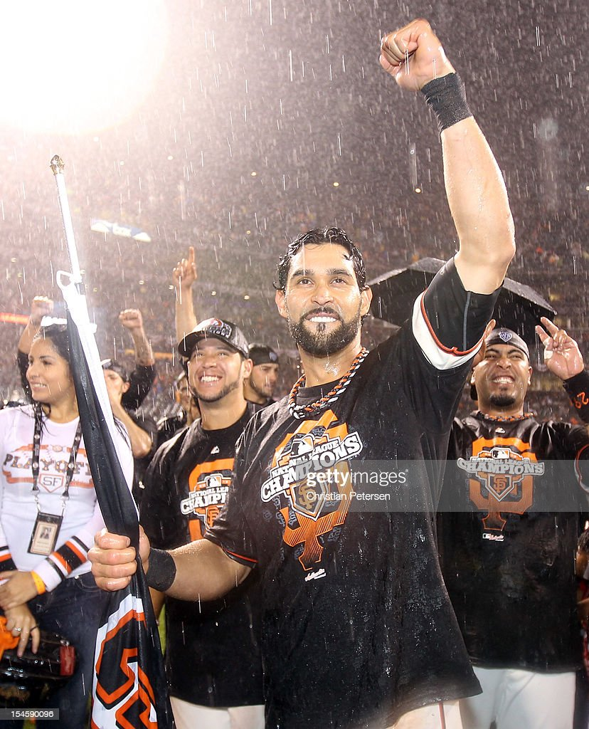 Angel Pagan #16 of the San Francisco Giants celebrates after the Giants 9-0 victory against the St. Louis Cardinals in Game Seven of the National League Championship Series at AT&T Park on October 22, 2012 in San Francisco, California.