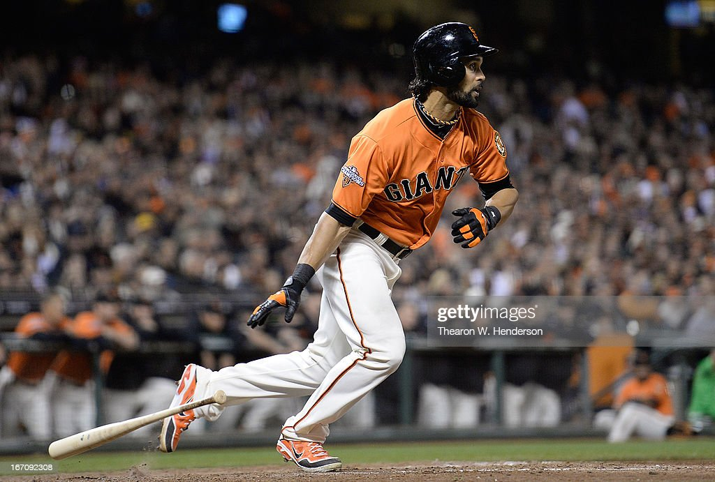 <a gi-track='captionPersonalityLinkClicked' href=/galleries/search?phrase=Angel+Pagan&family=editorial&specificpeople=666596 ng-click='$event.stopPropagation()'>Angel Pagan</a> #16 of the San Francisco Giants hits a walk off RBI single, scoring Andres Torres (not pictured) against the San Diego Padres in the ninth inning at AT&T Park on April 19, 2013 in San Francisco, California. The Giants won the game 3-2.