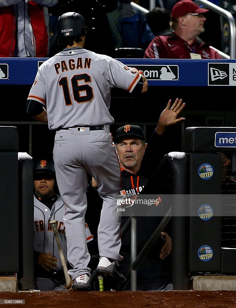 <a gi-track='captionPersonalityLinkClicked' href=/galleries/search?phrase=Angel+Pagan&family=editorial&specificpeople=666596 ng-click='$event.stopPropagation()'>Angel Pagan</a> #16 of the San Francisco Giants is congratulated by manager <a gi-track='captionPersonalityLinkClicked' href=/galleries/search?phrase=Bruce+Bochy&family=editorial&specificpeople=220291 ng-click='$event.stopPropagation()'>Bruce Bochy</a> #15 after Pagan hit a solo home run in the seventh inning against the New York Mets at Citi Field on April 29, 2016 in the Flushing neighborhood of the Queens borough of New York City.