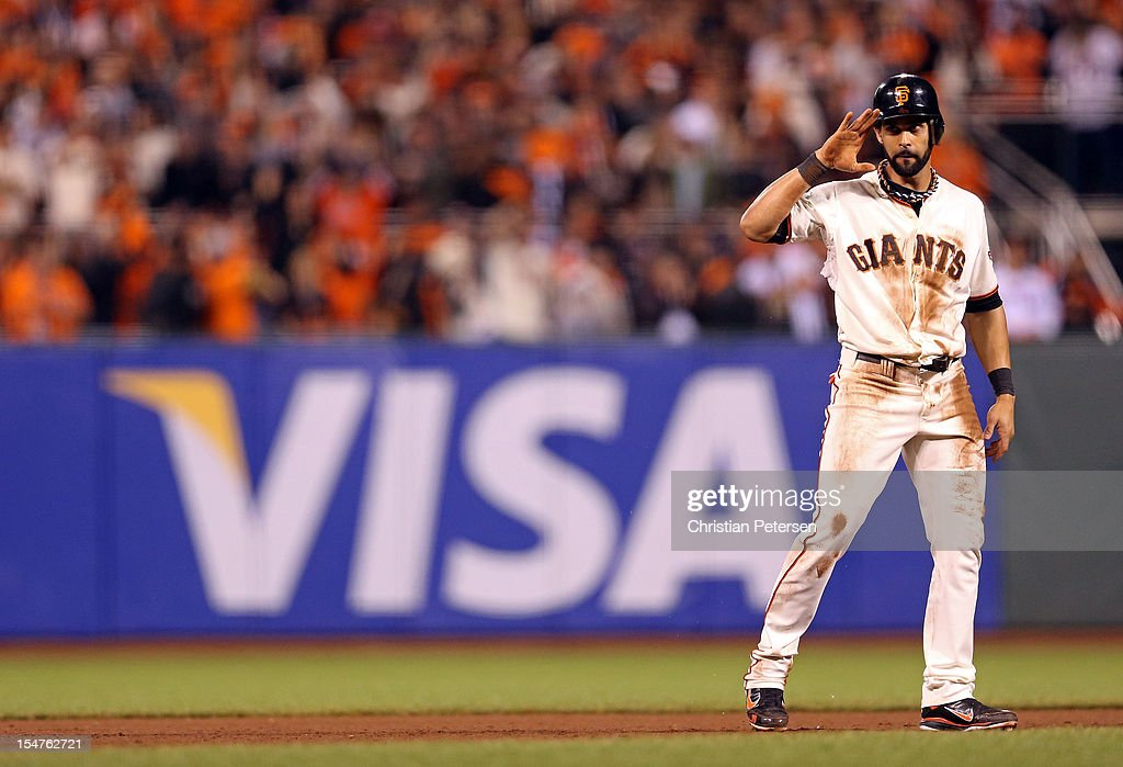 <a gi-track='captionPersonalityLinkClicked' href=/galleries/search?phrase=Angel+Pagan&family=editorial&specificpeople=666596 ng-click='$event.stopPropagation()'>Angel Pagan</a> #16 of the San Francisco Giants reacts after he stole second base in the eighth inning against the Detroit Tigers during Game Two of the Major League Baseball World Series at AT&T Park on October 25, 2012 in San Francisco, California.