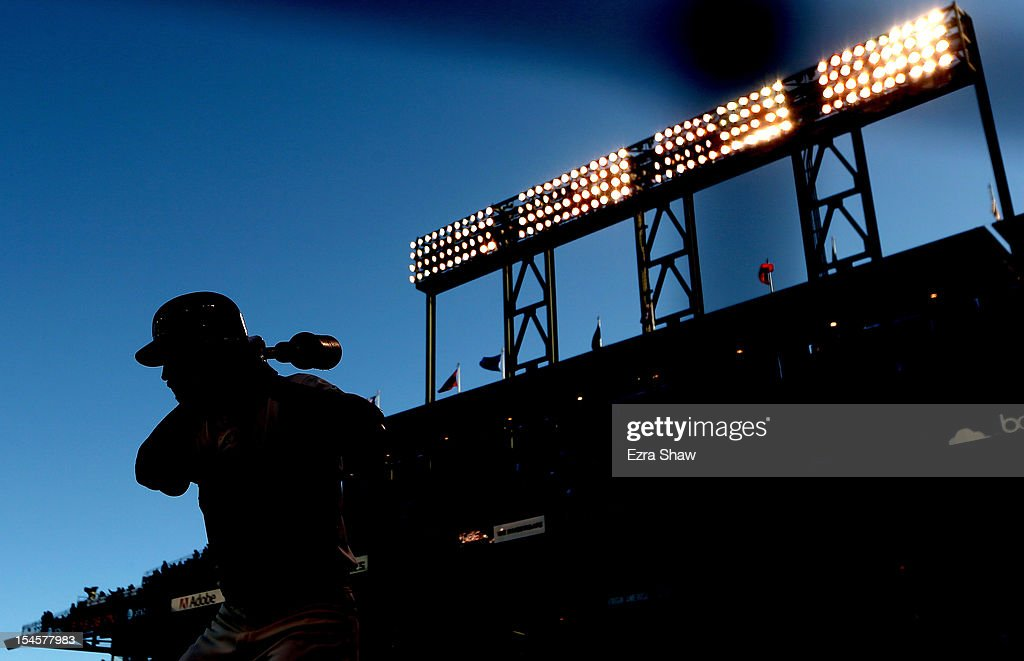 <a gi-track='captionPersonalityLinkClicked' href=/galleries/search?phrase=Angel+Pagan&family=editorial&specificpeople=666596 ng-click='$event.stopPropagation()'>Angel Pagan</a> #16 of the San Francisco Giants waits on deck asa the Giants take on the St. Louis Cardinals in Game Seven of the National League Championship Series at AT&T Park on October 22, 2012 in San Francisco, California.