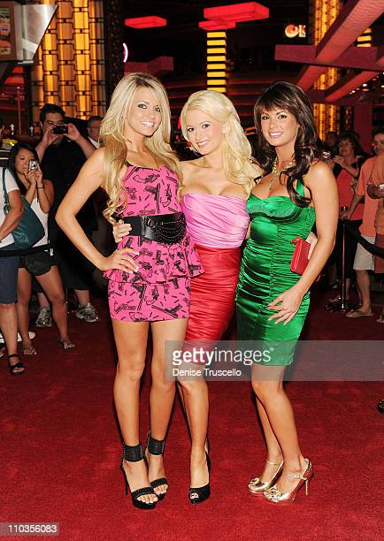 Angel Porrino Holly Madison and Laura Croft arrive at a screening of Universal Pictures' 'Get Him to the Greek' at the Planet Hollywood Resort Casino...