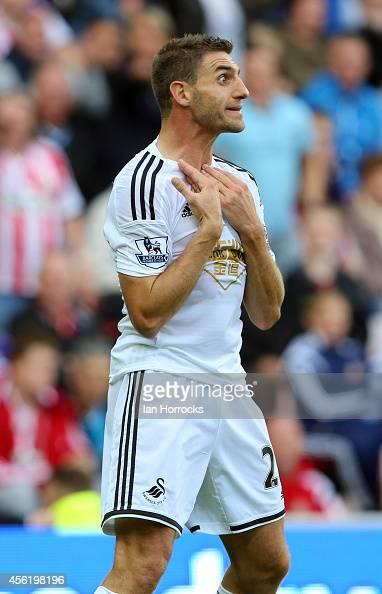 Angel Rangel of Swansea appeals against his red card during the Barclays Premier League match between Sunderland and Swansea City at The Stadium of...