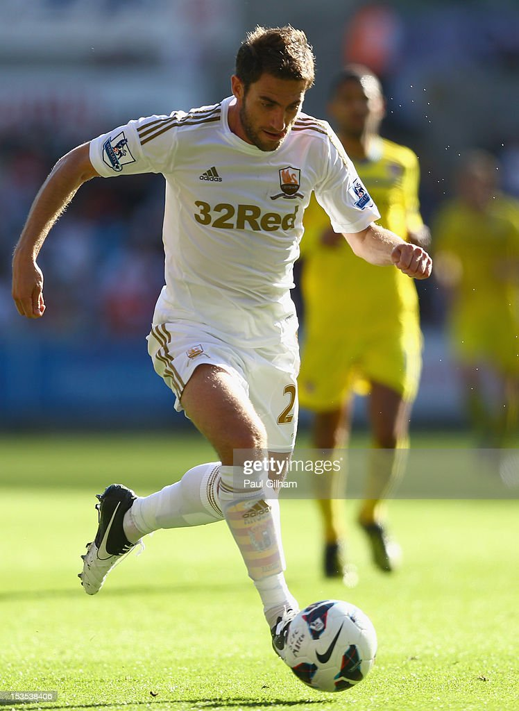 Angel Rangel of Swansea City in action during the Barclays Premier League match between Swansea City and Reading at the Liberty Stadium on October 6, 2012 in Swansea, Wales.