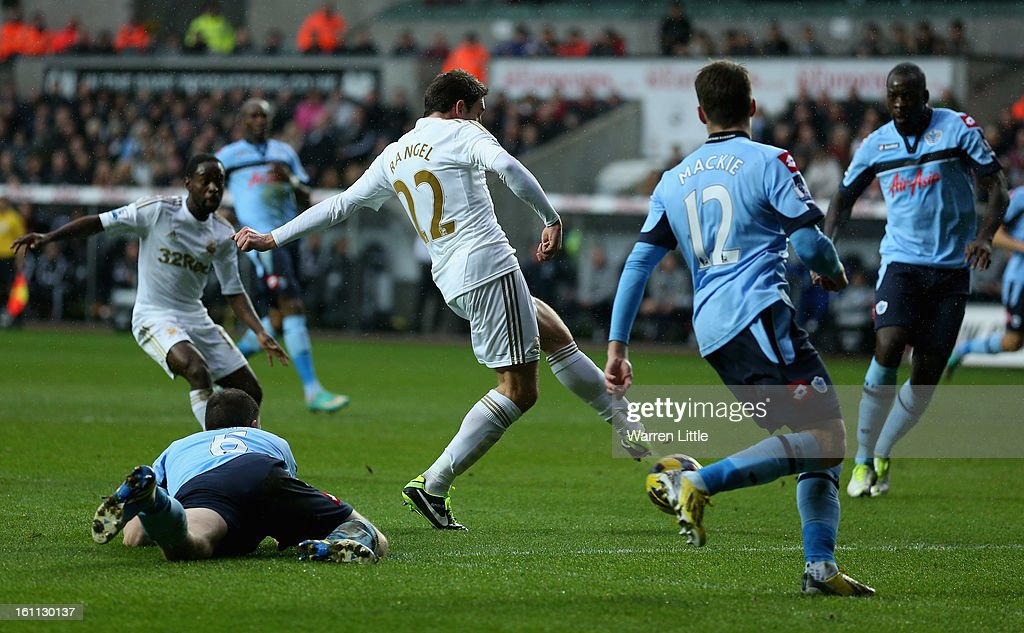 Angel Rangel of Swansea scores the second goal during the Premier League match between Swansea City and Queens Park Rangers at Liberty Stadium on February 9, 2013 in Swansea, Wales.