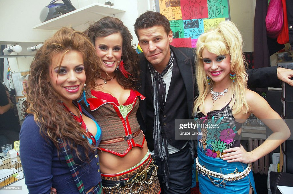 Angel Reed, Katherine Tokarz, David Boreanaz and Savannah Wise pose backstage at the hit rock musical 'Rock of Ages' on Broadway at The Brooks Atkinson Theater on September 17, 2009 in New York, New York.