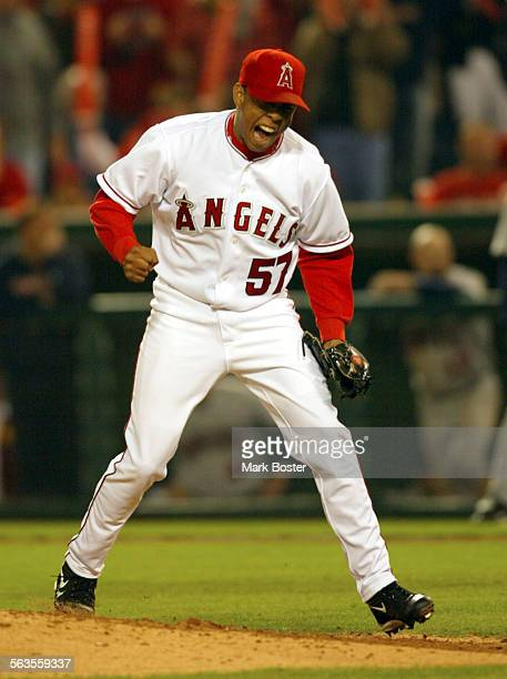 Angel reliever Fransico Rodriguez reacts to striking out Bobby Kielty to end the eigth inning Saturday night in game four of the ALCS