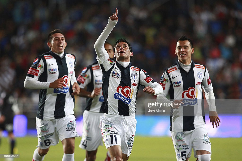 <a gi-track='captionPersonalityLinkClicked' href=/galleries/search?phrase=Angel+Reyna&family=editorial&specificpeople=630365 ng-click='$event.stopPropagation()'>Angel Reyna</a> of Pachuca celebrates score a goal against Cruz Azul during the Clausura 2013 Liga MX at Hidalgo Stadium on February 16, 2013 in Pachuca, Mexico.